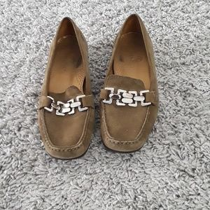 Cole Haan Leather and Suede Olive Green Loafers